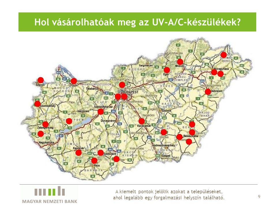 9 A kiemelt pontok jelölik azokat a településeket, ahol legalább egy forgalmazási helyszín található. Hol vásárolhatóak meg az UV-A/C-készülékek?