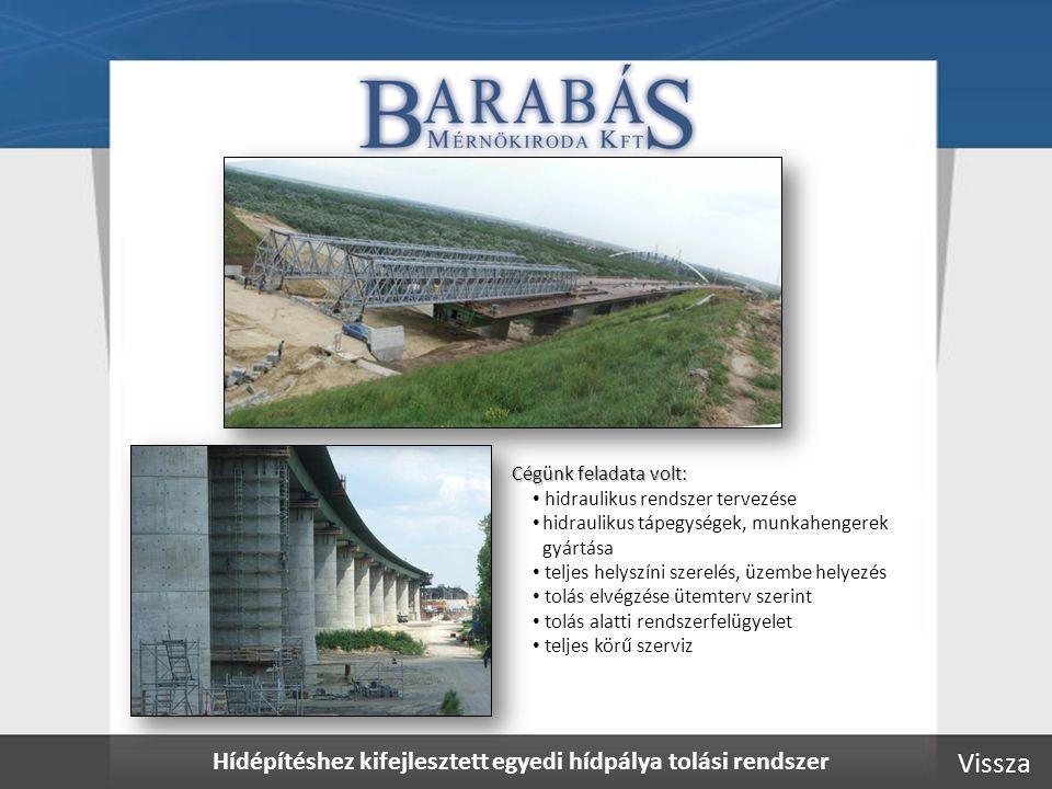 Hídépítéshez kifejlesztett egyedi hídpálya tolási rendszer Cégünk feladata volt: • hidraulikus rendszer tervezése • hidraulikus tápegységek, munkahengerek gyártása • teljes helyszíni szerelés, üzembe helyezés • tolás elvégzése ütemterv szerint • tolás alatti rendszerfelügyelet • teljes körű szerviz Vissza