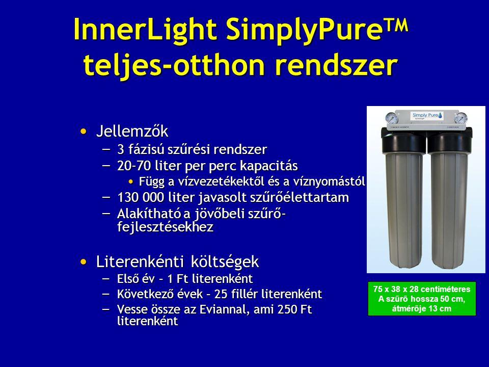 InnerLight SimplyPure TM teljes-otthon rendszer • Jellemzők – 3 fázisú szűrési rendszer – 20-70 liter per perc kapacitás • Függ a vízvezetékektől és a víznyomástól – 130 000 liter javasolt szűrőélettartam – Alakítható a jövőbeli szűrő- fejlesztésekhez • Literenkénti költségek – Első év – 1 Ft literenként – Következő évek – 25 fillér literenként – Vesse össze az Eviannal, ami 250 Ft literenként 75 x 38 x 28 centiméteres A szűrő hossza 50 cm, átmérője 13 cm
