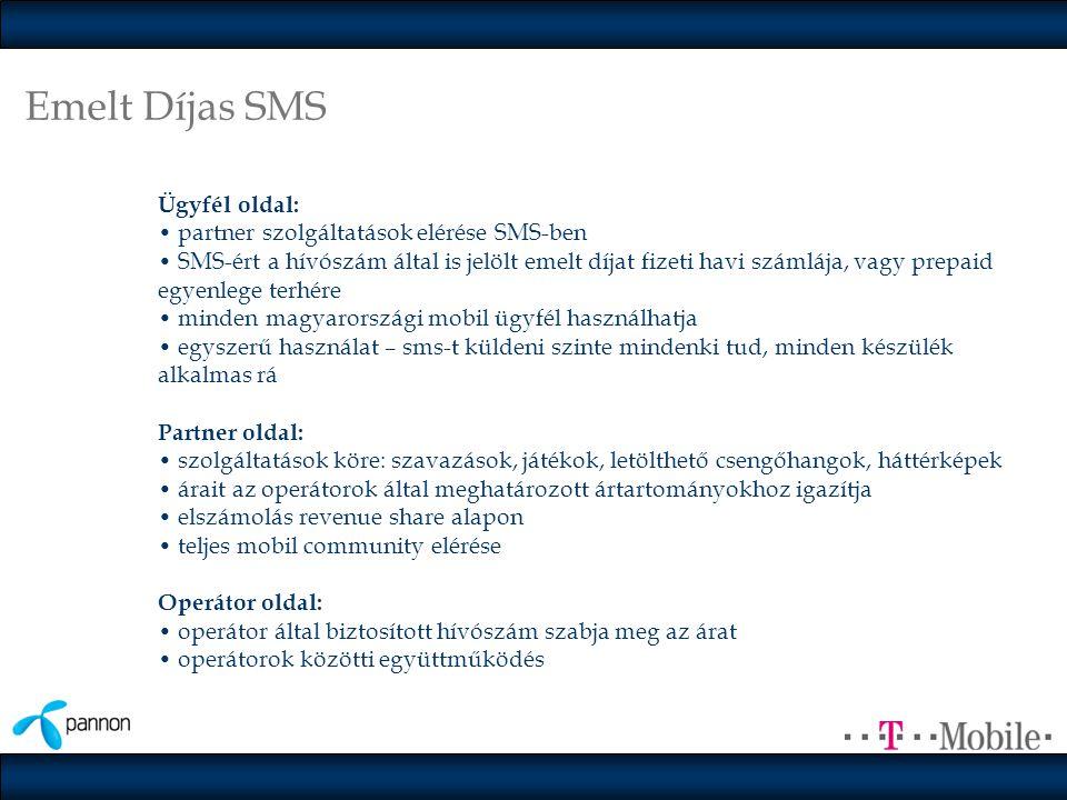 Emelt Díjas SMS Ügyfél oldal: • partner szolgáltatások elérése SMS-ben • SMS-ért a hívószám által is jelölt emelt díjat fizeti havi számlája, vagy prepaid egyenlege terhére • minden magyarországi mobil ügyfél használhatja • egyszerű használat – sms-t küldeni szinte mindenki tud, minden készülék alkalmas rá Partner oldal: • szolgáltatások köre: szavazások, játékok, letölthető csengőhangok, háttérképek • árait az operátorok által meghatározott ártartományokhoz igazítja • elszámolás revenue share alapon • teljes mobil community elérése Operátor oldal: • operátor által biztosított hívószám szabja meg az árat • operátorok közötti együttműködés