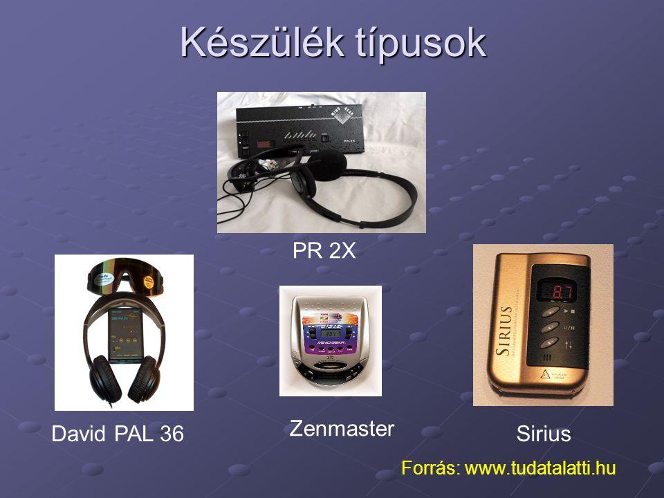 Zenmaster SiriusDavid PAL 36 Készülék típusok PR 2X Forrás: www.tudatalatti.hu
