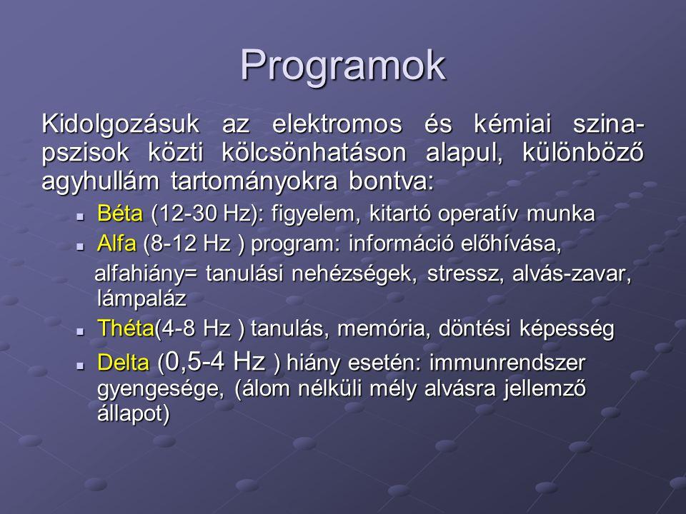 Programok Kidolgozásuk az elektromos és kémiai szina- pszisok közti kölcsönhatáson alapul, különböző agyhullám tartományokra bontva:  Béta (12-30 Hz)