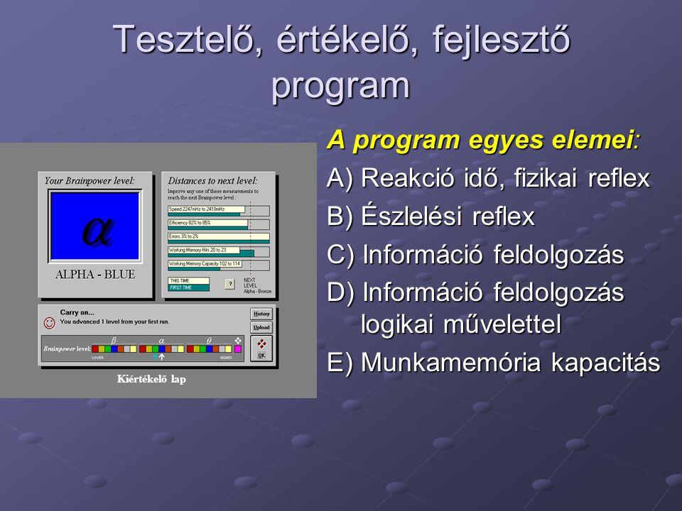 Tesztelő, értékelő, fejlesztő program A program egyes elemei: A) Reakció idő, fizikai reflex B) Észlelési reflex C) Információ feldolgozás D) Informác