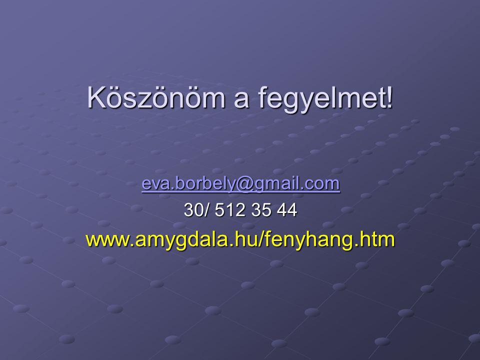 Köszönöm a fegyelmet! eva.borbely@gmail.com 30/ 512 35 44 www.amygdala.hu/fenyhang.htm