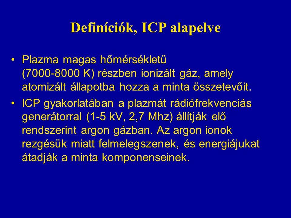Definíciók, ICP alapelve •Plazma magas hőmérsékletű (7000-8000 K) részben ionizált gáz, amely atomizált állapotba hozza a minta összetevőit.