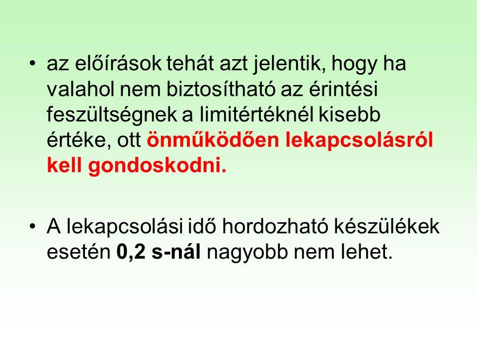 HEFOP 3.3.1. •az előírások tehát azt jelentik, hogy ha valahol nem biztosítható az érintési feszültségnek a limitértéknél kisebb értéke, ott önműködőe