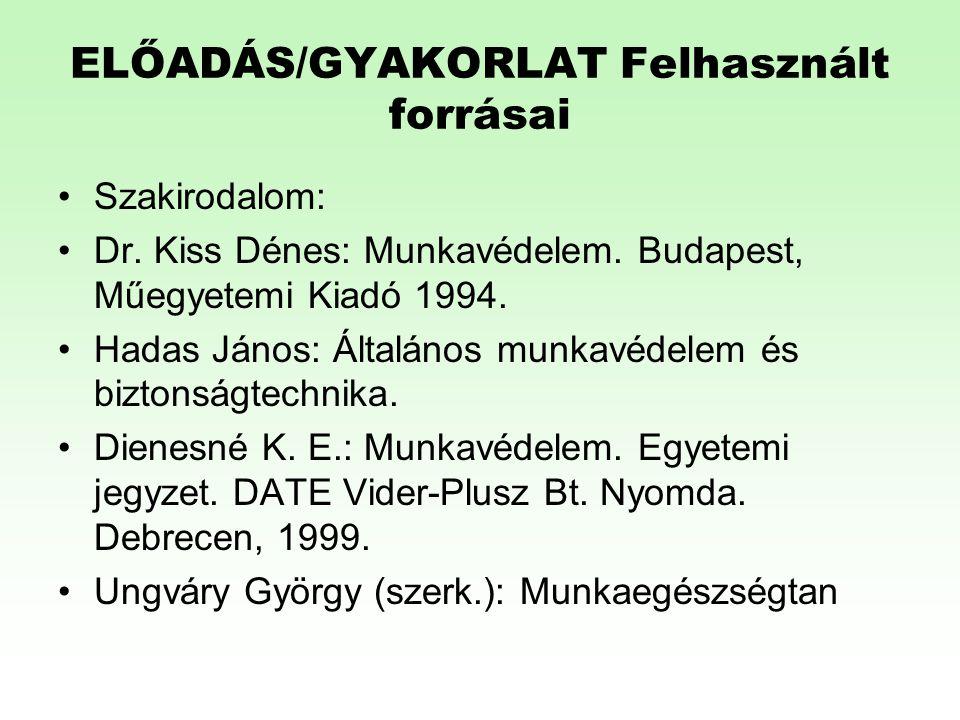 HEFOP 3.3.1. ELŐADÁS/GYAKORLAT Felhasznált forrásai •Szakirodalom: •Dr. Kiss Dénes: Munkavédelem. Budapest, Műegyetemi Kiadó 1994. •Hadas János: Által