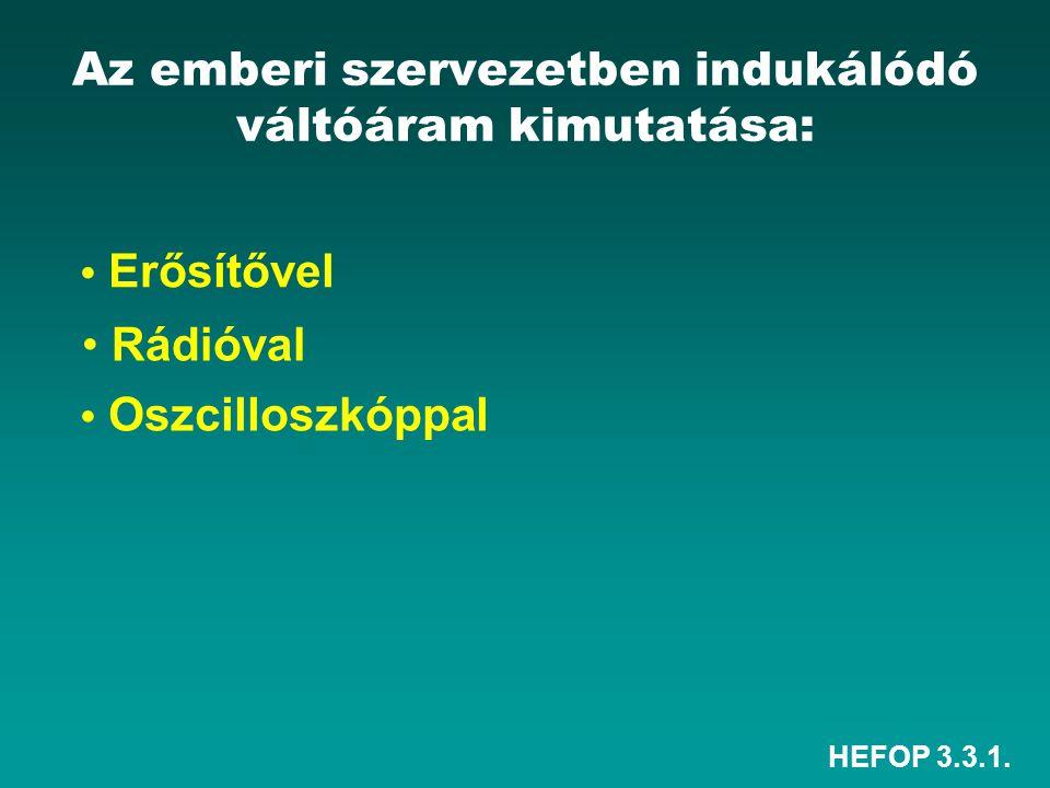 HEFOP 3.3.1. Az emberi szervezetben indukálódó váltóáram kimutatása: • Rádióval • Erősítővel • Oszcilloszkóppal