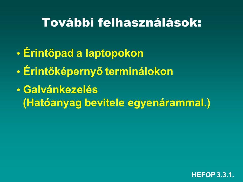 HEFOP 3.3.1. További felhasználások: • Érintőpad a laptopokon • Érintőképernyő terminálokon • Galvánkezelés (Hatóanyag bevitele egyenárammal.)