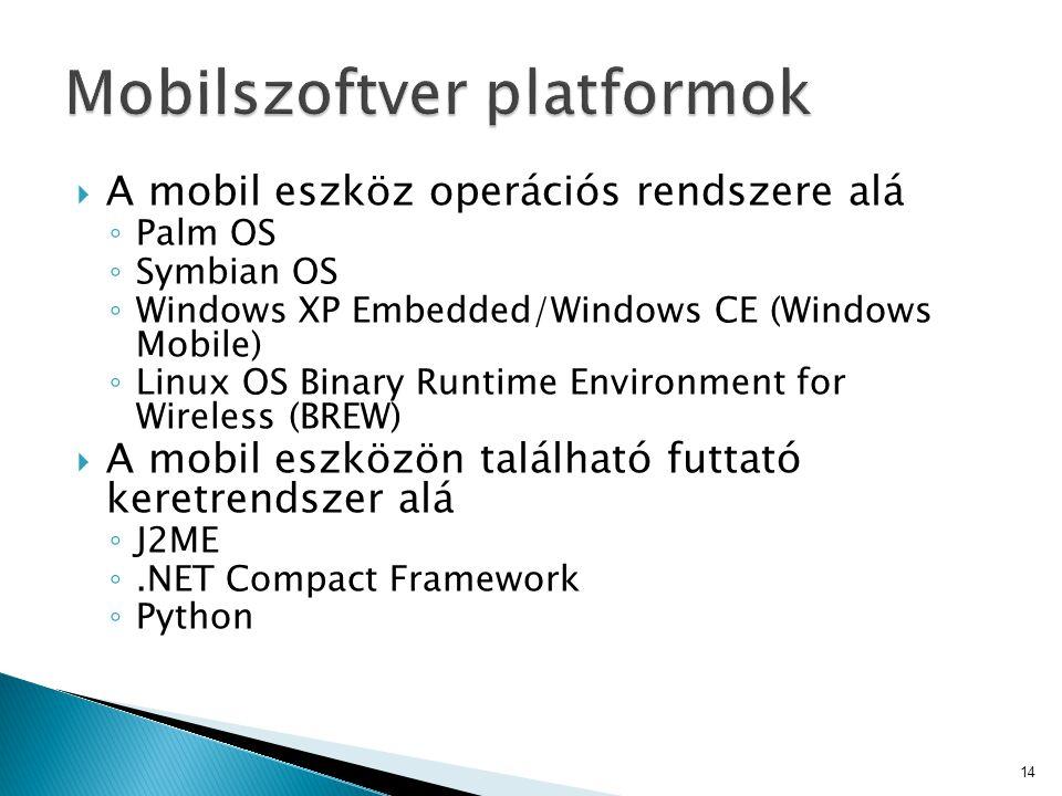  A mobil eszköz operációs rendszere alá ◦ Palm OS ◦ Symbian OS ◦ Windows XP Embedded/Windows CE (Windows Mobile) ◦ Linux OS Binary Runtime Environmen