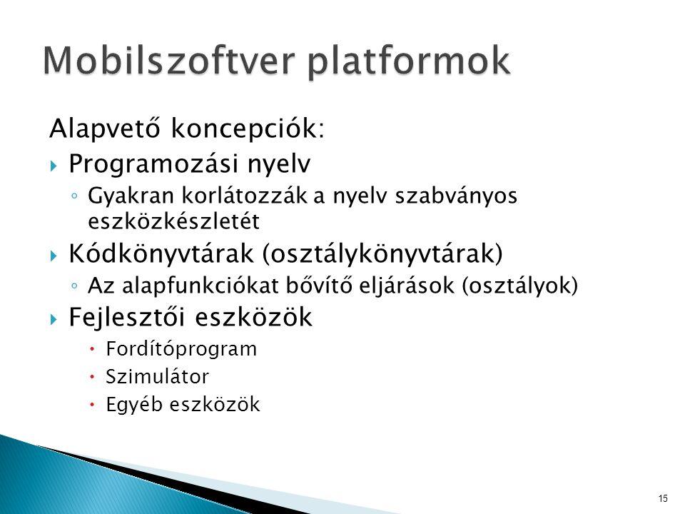 Alapvető koncepciók:  Programozási nyelv ◦ Gyakran korlátozzák a nyelv szabványos eszközkészletét  Kódkönyvtárak (osztálykönyvtárak) ◦ Az alapfunkci