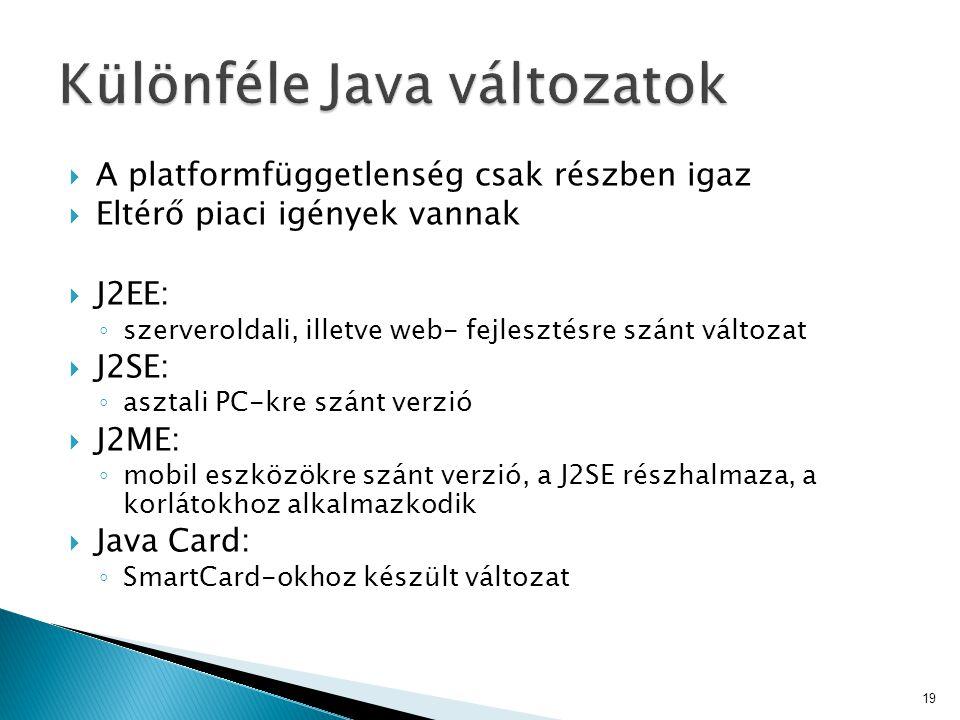  A platformfüggetlenség csak részben igaz  Eltérő piaci igények vannak  J2EE: ◦ szerveroldali, illetve web- fejlesztésre szánt változat  J2SE: ◦ a
