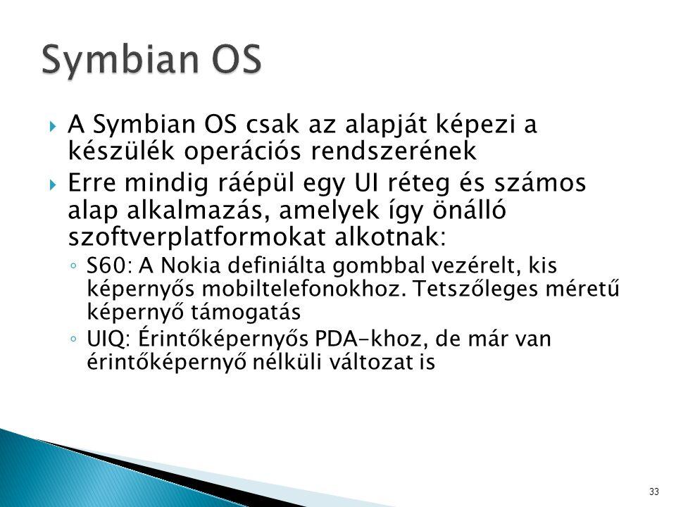  A Symbian OS csak az alapját képezi a készülék operációs rendszerének  Erre mindig ráépül egy UI réteg és számos alap alkalmazás, amelyek így önáll