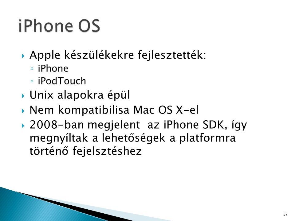  Apple készülékekre fejlesztették: ◦ iPhone ◦ iPodTouch  Unix alapokra épül  Nem kompatibilisa Mac OS X-el  2008-ban megjelent az iPhone SDK, így