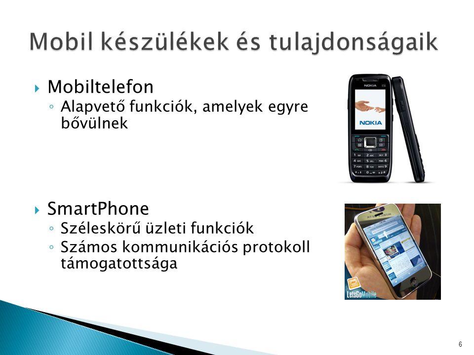  Mobiltelefon ◦ Alapvető funkciók, amelyek egyre bővülnek  SmartPhone ◦ Széleskörű üzleti funkciók ◦ Számos kommunikációs protokoll támogatottsága 6