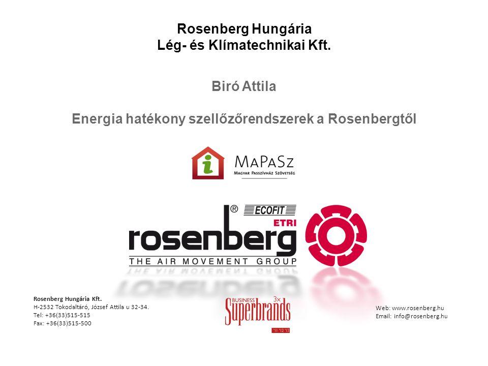 Rosenberg Hungária Lég- és Klímatechnikai Kft. Biró Attila Energia hatékony szellőzőrendszerek a Rosenbergtől Rosenberg Hungária Kft. H-2532 Tokodaltá
