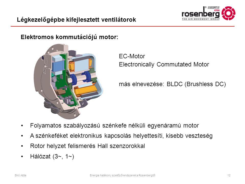 EC-Motor Electronically Commutated Motor más elnevezése: BLDC (Brushless DC) •Folyamatos szabályozású szénkefe nélküli egyenáramú motor •A szénkeféket