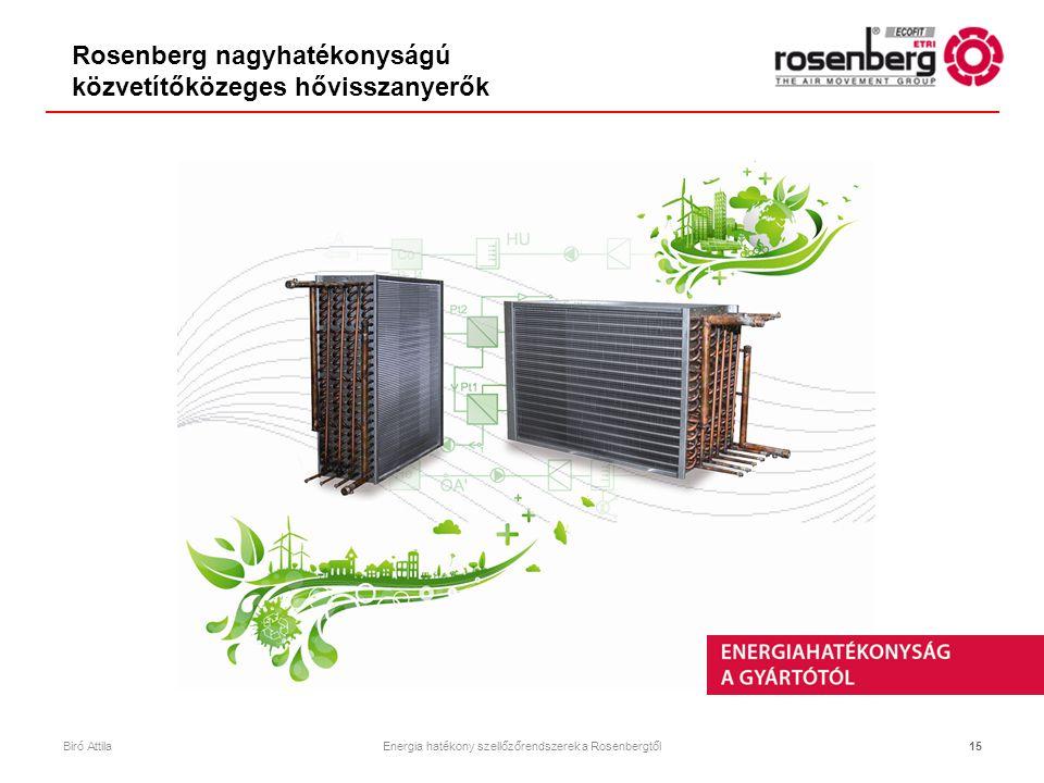 15 Rosenberg nagyhatékonyságú közvetítőközeges hővisszanyerők Biró AttilaEnergia hatékony szellőzőrendszerek a Rosenbergtől