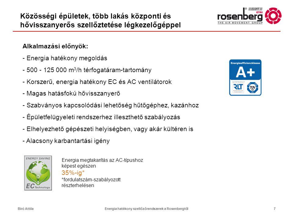 Rosenberg újdonságok a légkezelésben8 Airbox T60 légkezelőgépek •60 mm vastag termikusan szétválasztott készülékház-panel és keret •Az alumínium keret jelentősen csökkenti a készülék össztömegét •Hőátadási osztály: T2, hőhídfaktor: TB2 •Készülékház szivárgás: L1 •Eurovent és RLT energiahatékonysági címke •VDI 6022 és DIN 1946/4 higiéniai tanúsítások •07Q-tól 35R-ig terjedő építési méretskála