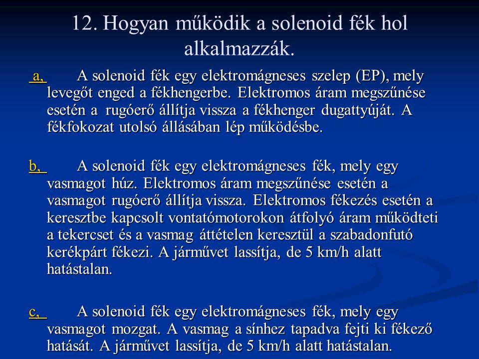 12. Hogyan működik a solenoid fék hol alkalmazzák.