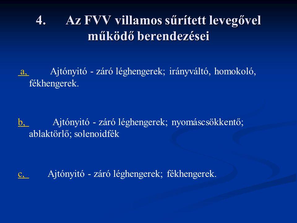 4.Az FVV villamos sűrített levegővel működő berendezései a, a, Ajtónyitó - záró léghengerek; irányváltó, homokoló, fékhengerek.