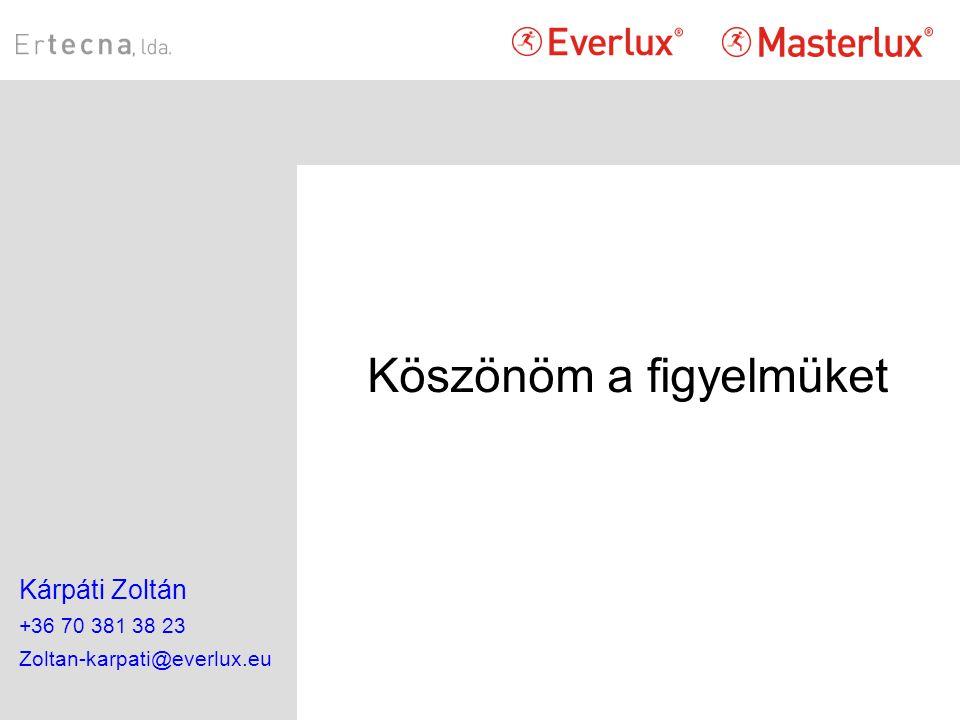 Köszönöm a figyelmüket Kárpáti Zoltán +36 70 381 38 23 Zoltan-karpati@everlux.eu