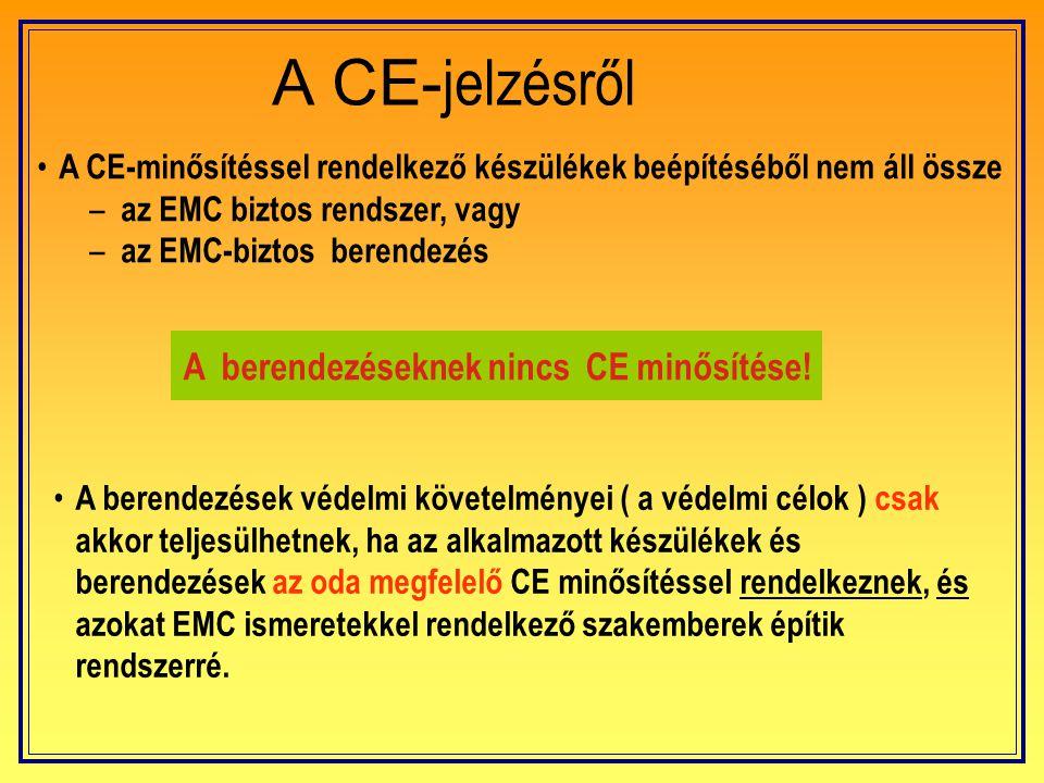 EMC-Törvény Az EMC követelmények betartása egyrészről törvényes kötelessége az installáció tervezőjének és a beruházójának, másrészről az EMC követelm