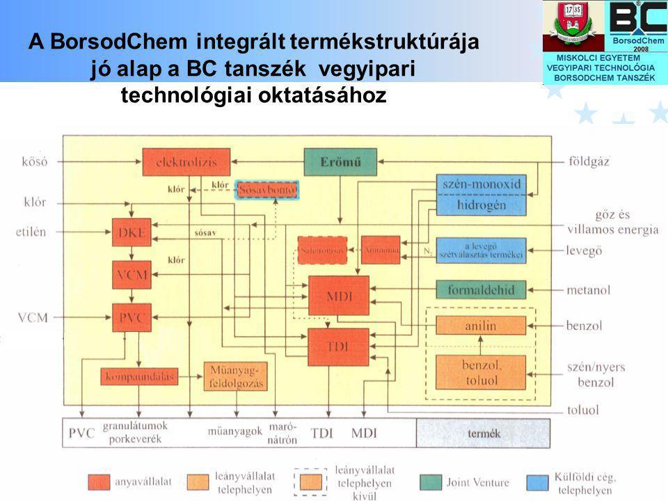 10 A BorsodChem integrált termékstruktúrája jó alap a BC tanszék vegyipari technológiai oktatásához