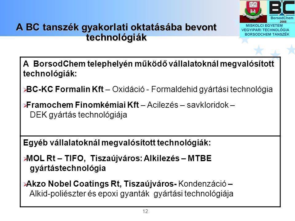 12 A BC tanszék gyakorlati oktatásába bevont technológiák A BorsodChem telephelyén működő vállalatoknál megvalósított technológiák:  BC-KC Formalin K