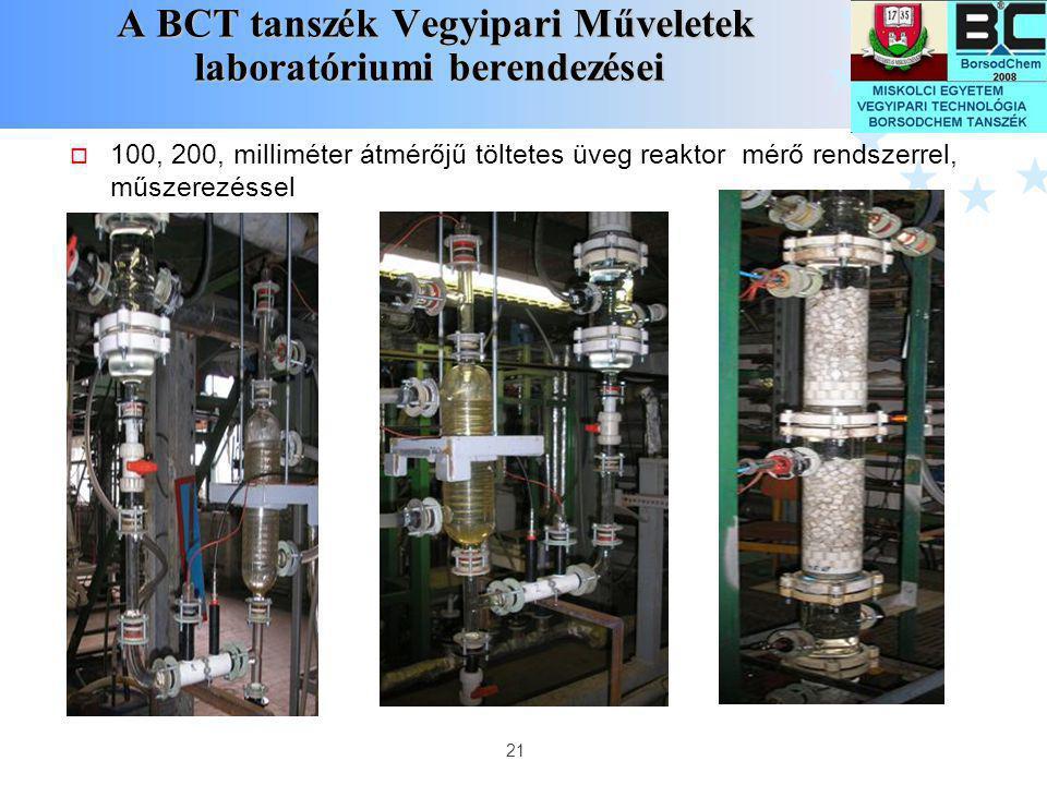 21 A BCT tanszék Vegyipari Műveletek laboratóriumi berendezései A BCT tanszék Vegyipari Műveletek laboratóriumi berendezései  100, 200, milliméter át