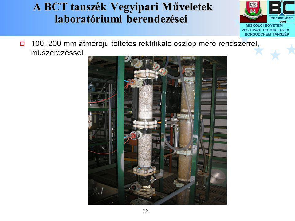 22 A BCT tanszék Vegyipari Műveletek laboratóriumi berendezései A BCT tanszék Vegyipari Műveletek laboratóriumi berendezései  100, 200 mm átmérőjű tö