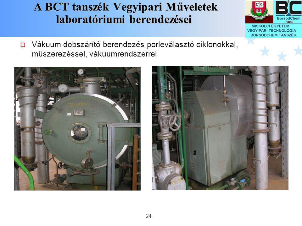 24 A BCT tanszék Vegyipari Műveletek laboratóriumi berendezései A BCT tanszék Vegyipari Műveletek laboratóriumi berendezései  Vákuum dobszárító beren