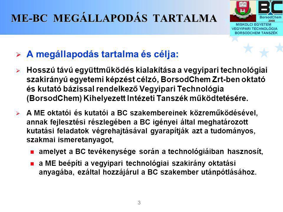 3 ME-BC MEGÁLLAPODÁS TARTALMA  A megállapodás tartalma és célja:  Hosszú távú együttműködés kialakítása a vegyipari technológiai szakirányú egyetemi
