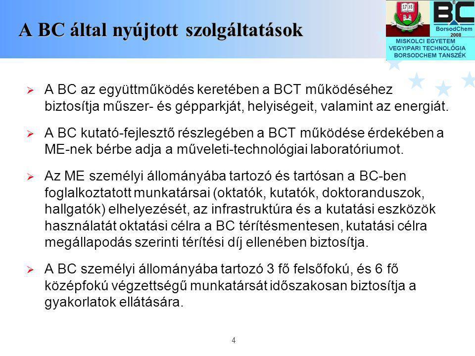4 A BC által nyújtott szolgáltatások  A BC az együttműködés keretében a BCT működéséhez biztosítja műszer- és gépparkját, helyiségeit, valamint az en