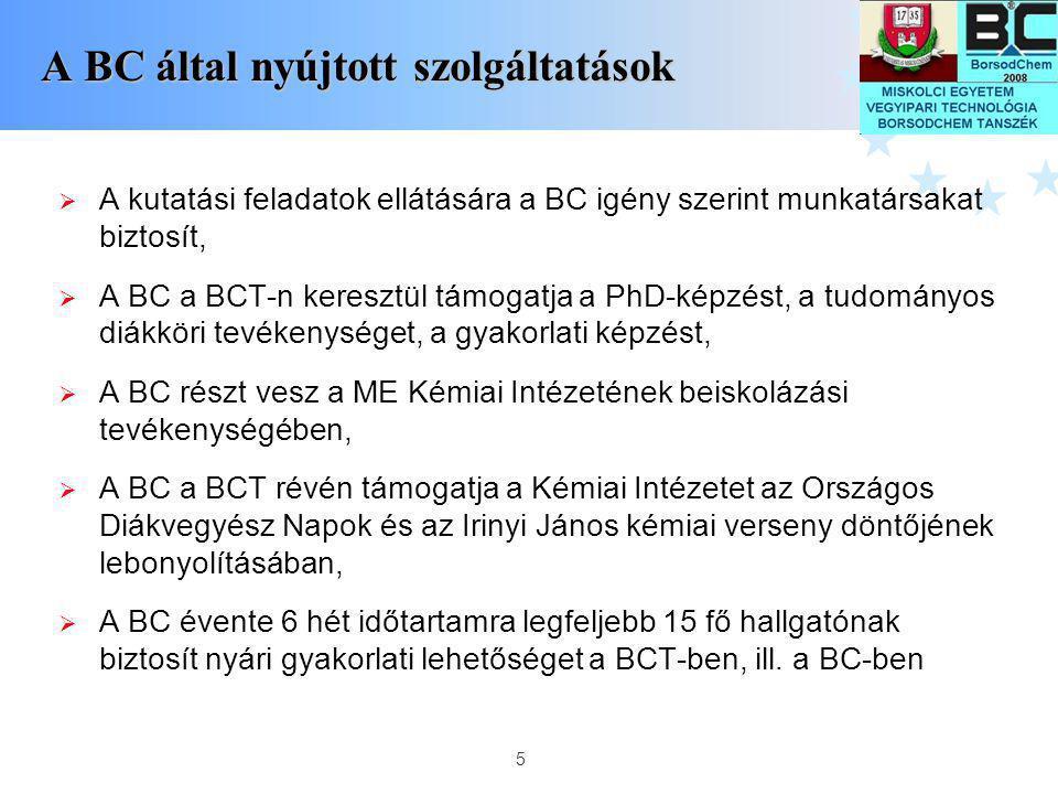 5 A BC által nyújtott szolgáltatások  A kutatási feladatok ellátására a BC igény szerint munkatársakat biztosít,  A BC a BCT-n keresztül támogatja a