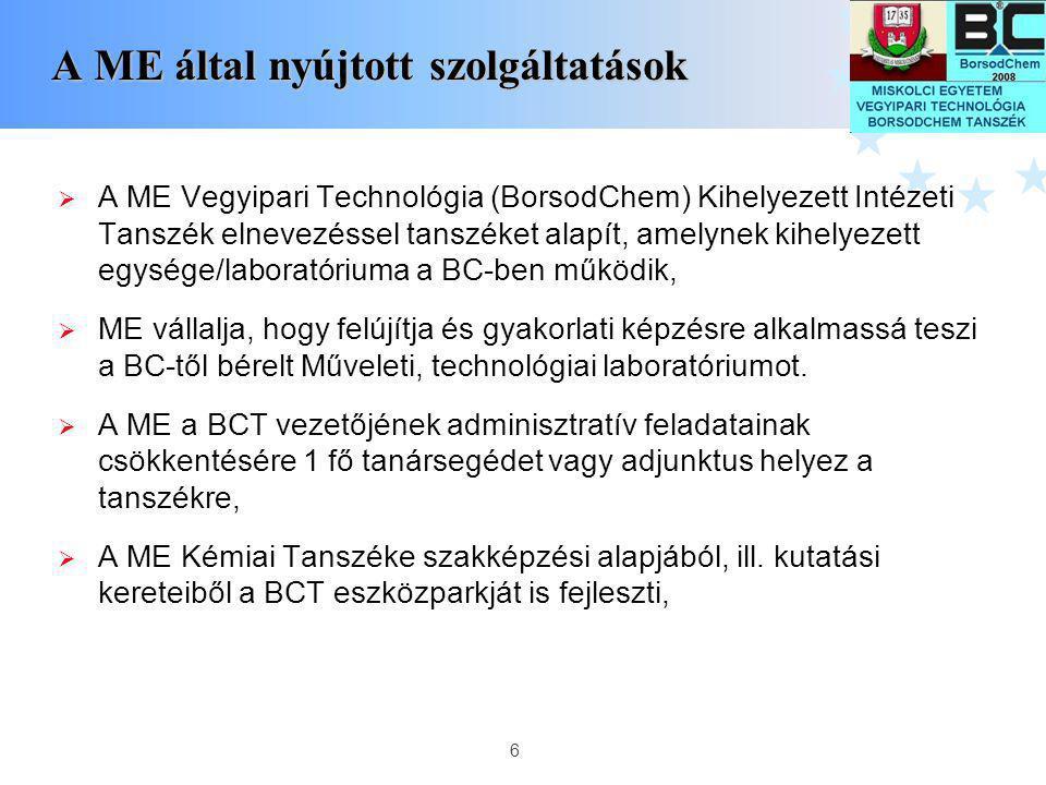 6 A ME által nyújtott szolgáltatások A ME által nyújtott szolgáltatások  A ME Vegyipari Technológia (BorsodChem) Kihelyezett Intézeti Tanszék elnevez