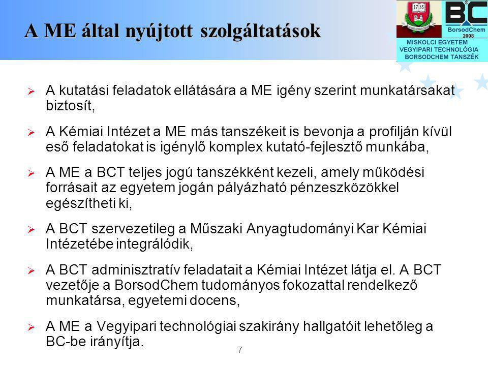 7 A ME által nyújtott szolgáltatások A ME által nyújtott szolgáltatások  A kutatási feladatok ellátására a ME igény szerint munkatársakat biztosít, 