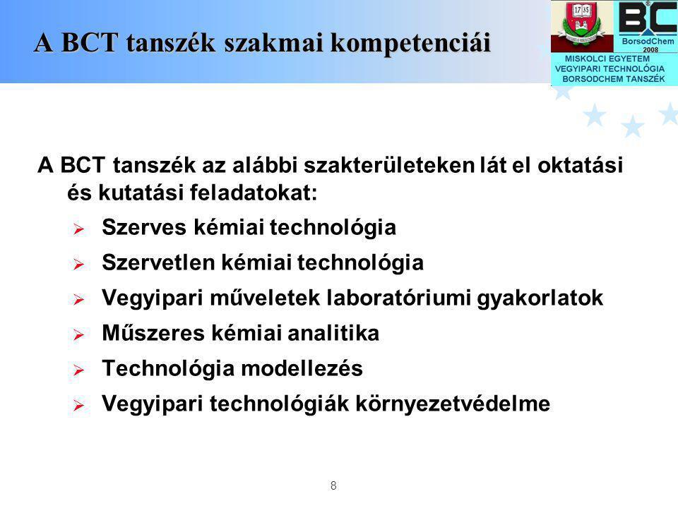 8 A BCT tanszék szakmai kompetenciái A BCT tanszék szakmai kompetenciái A BCT tanszék az alábbi szakterületeken lát el oktatási és kutatási feladatoka