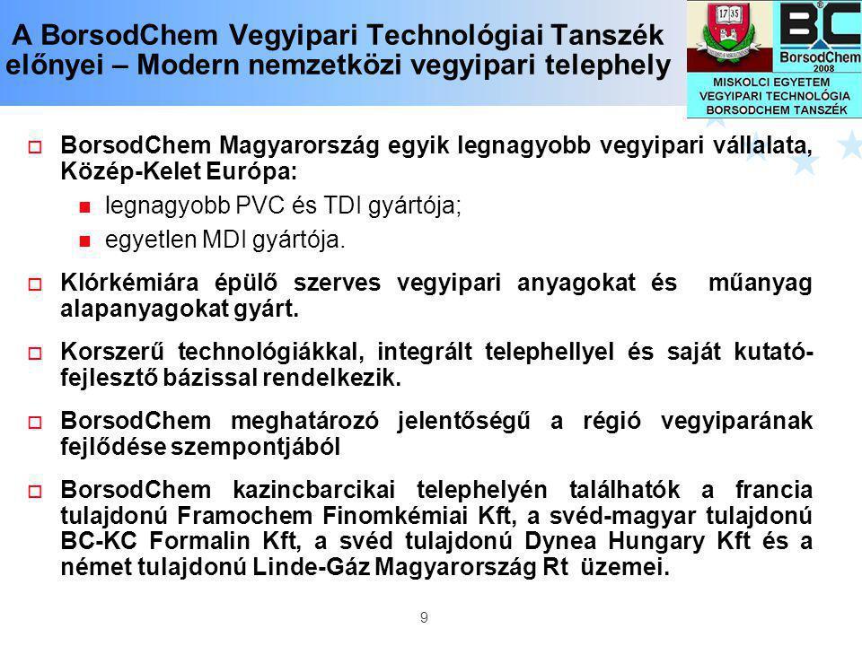 9 A BorsodChem Vegyipari Technológiai Tanszék előnyei – Modern nemzetközi vegyipari telephely  BorsodChem Magyarország egyik legnagyobb vegyipari vál