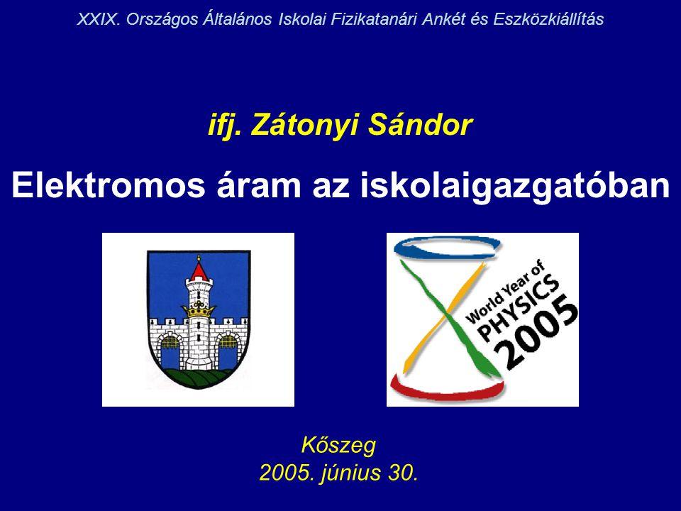 Elektromos áram az iskolaigazgatóban ifj. Zátonyi Sándor Kőszeg 2005. június 30. XXIX. Országos Általános Iskolai Fizikatanári Ankét és Eszközkiállítá