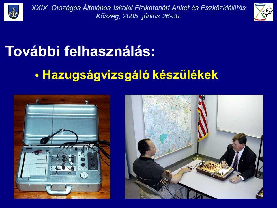 XXIX. Országos Általános Iskolai Fizikatanári Ankét és Eszközkiállítás Kőszeg, 2005. június 26-30. További felhasználás: • Hazugságvizsgáló készülékek