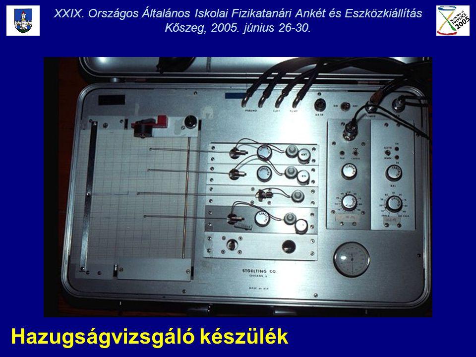 XXIX. Országos Általános Iskolai Fizikatanári Ankét és Eszközkiállítás Kőszeg, 2005. június 26-30. Hazugságvizsgáló készülék