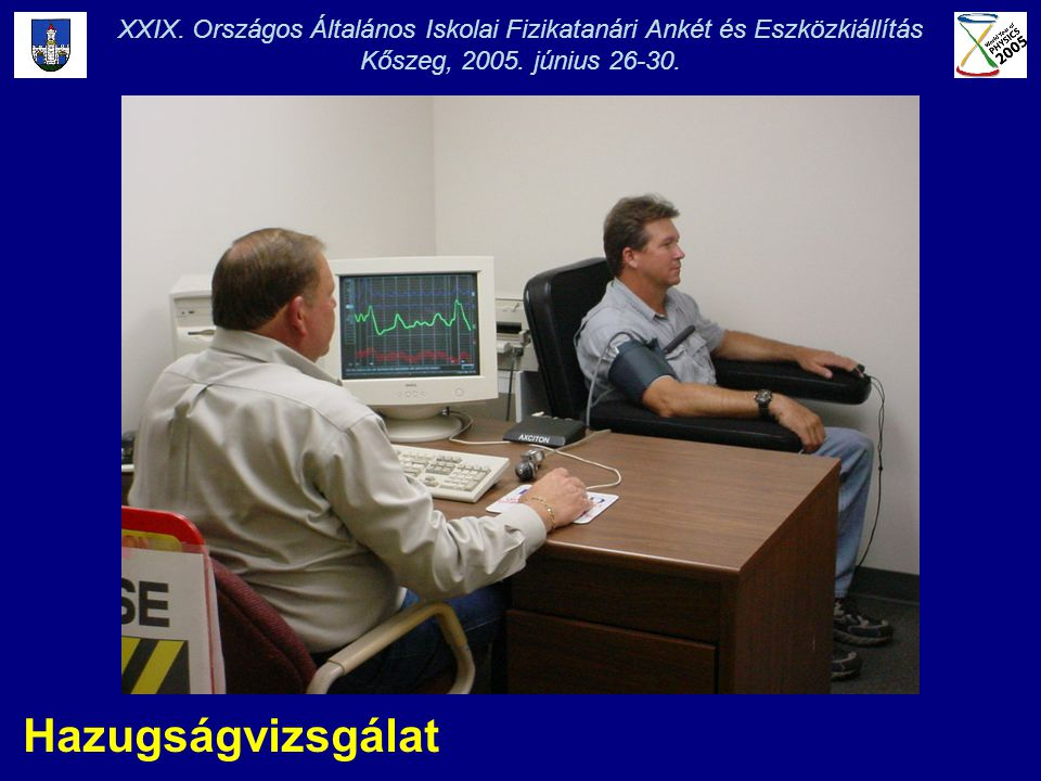 XXIX. Országos Általános Iskolai Fizikatanári Ankét és Eszközkiállítás Kőszeg, 2005. június 26-30. Hazugságvizsgálat