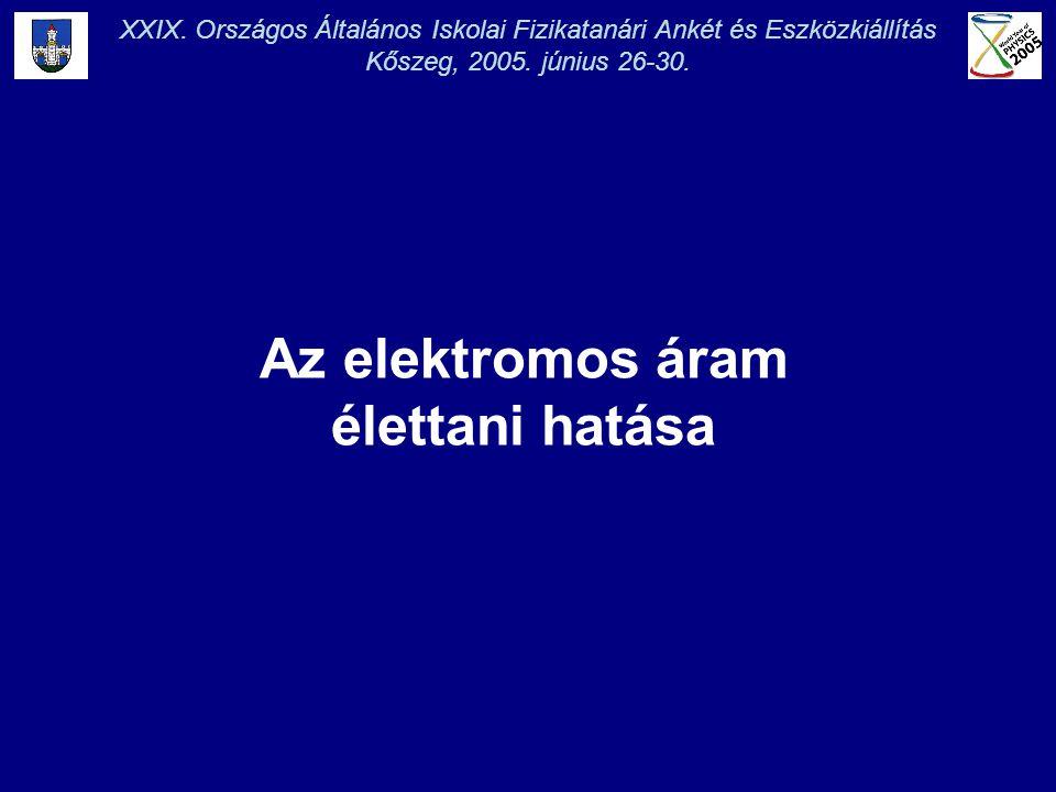 XXIX. Országos Általános Iskolai Fizikatanári Ankét és Eszközkiállítás Kőszeg, 2005. június 26-30. Az elektromos áram élettani hatása