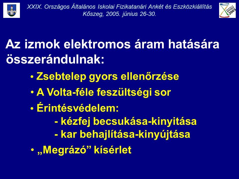 XXIX. Országos Általános Iskolai Fizikatanári Ankét és Eszközkiállítás Kőszeg, 2005. június 26-30. Az izmok elektromos áram hatására összerándulnak: •