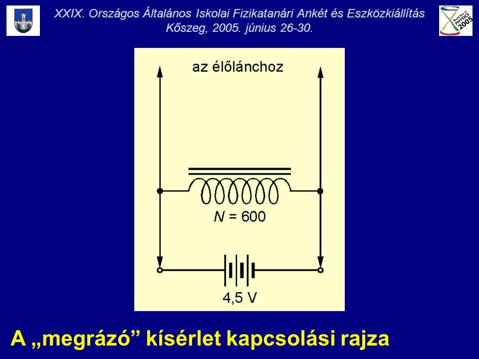 """A """"megrázó"""" kísérlet kapcsolási rajza XXIX. Országos Általános Iskolai Fizikatanári Ankét és Eszközkiállítás Kőszeg, 2005. június 26-30."""