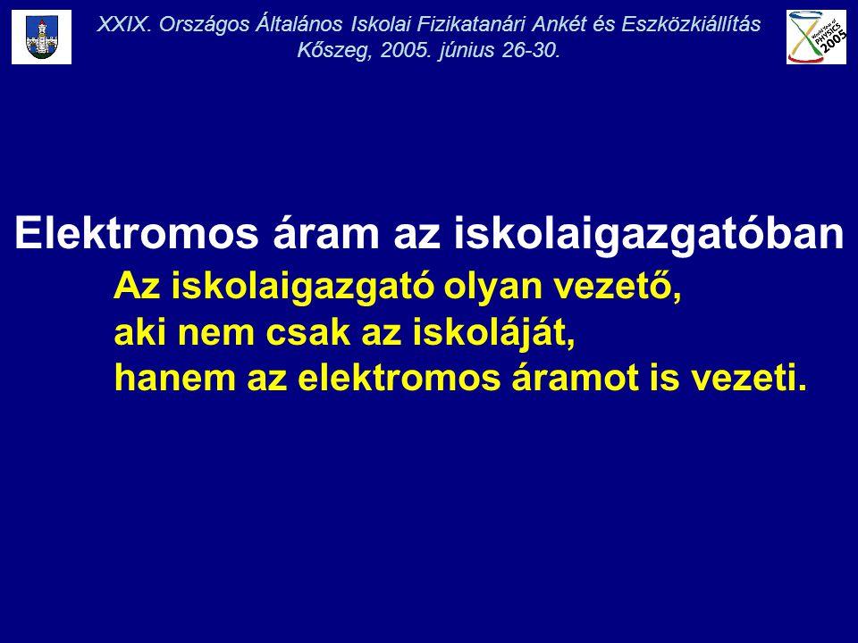 Kőszeg, 2005. június 26-30. Elektromos áram az iskolaigazgatóban Az iskolaigazgató olyan vezető, aki nem csak az iskoláját, hanem az elektromos áramot