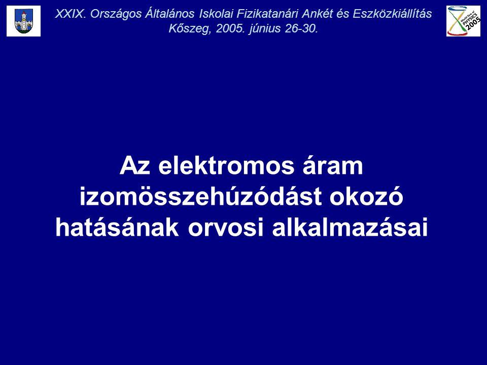 XXIX. Országos Általános Iskolai Fizikatanári Ankét és Eszközkiállítás Kőszeg, 2005. június 26-30. Az elektromos áram izomösszehúzódást okozó hatásána