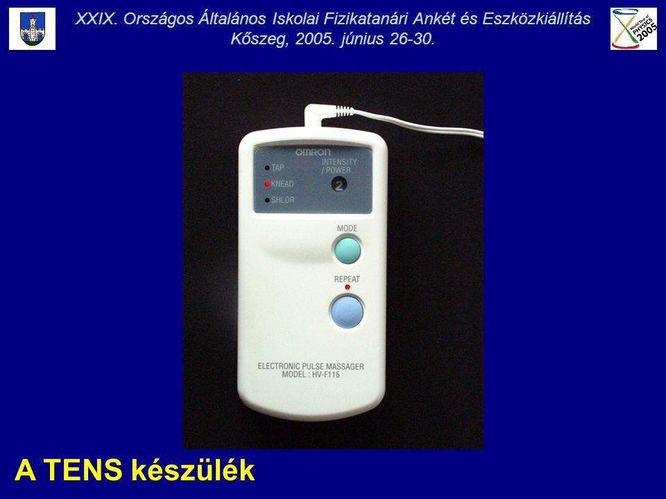 A TENS készülék XXIX. Országos Általános Iskolai Fizikatanári Ankét és Eszközkiállítás Kőszeg, 2005. június 26-30.