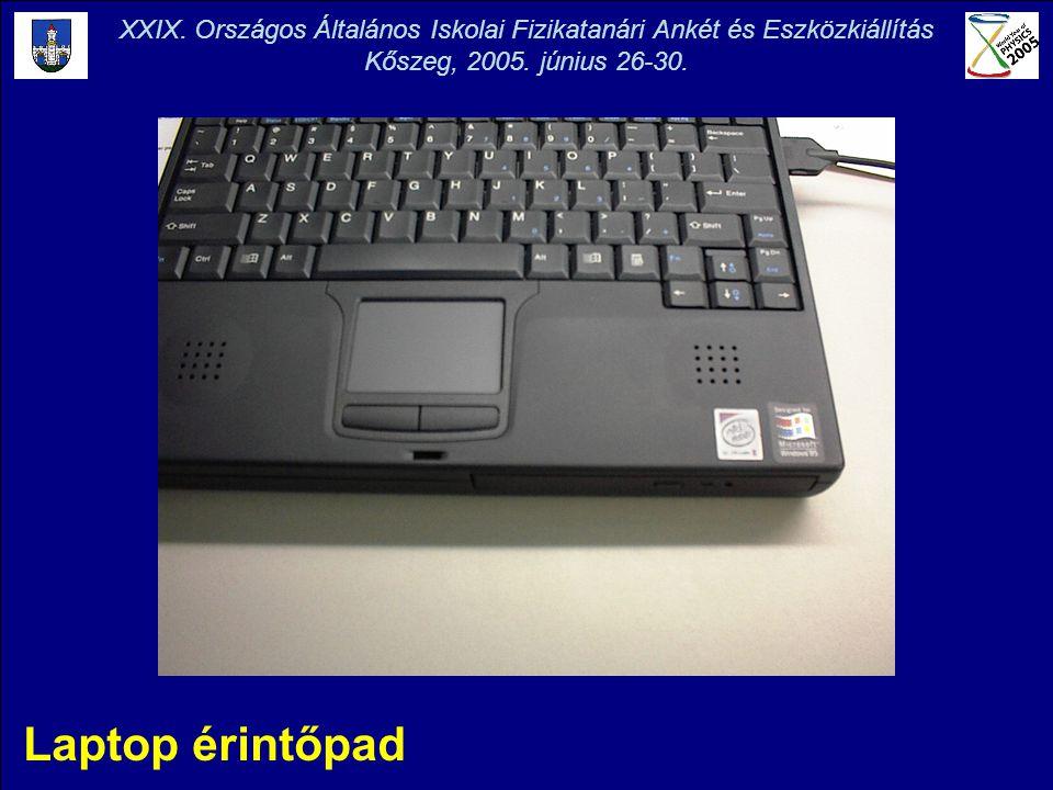 Laptop érintőpad XXIX. Országos Általános Iskolai Fizikatanári Ankét és Eszközkiállítás Kőszeg, 2005. június 26-30.